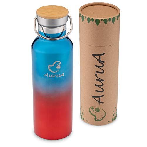 AuruA® Thermosflasche Edelstahl Trinkflasche für Kinder und Erwachsene, nachhaltige Isolierflasche Metall, BPA-frei plastikfrei auslaufsicher (Blau-Rot, 600 ml)