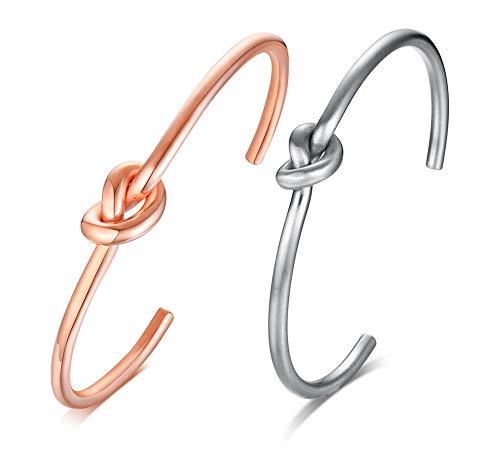 VNOX 2pcs Knoten Armband Edelstahl Celtic Knot Love Dünne offene Manschette Armreif gestapelt Armband für Männer Frauen, Geburtstagsgeschenk