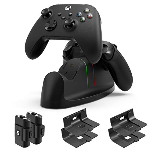 Charger for Xbox Series X S Controller- Dual Dock Charging Station Compatible with Xbox Core Controller, Charger Stand with 2x1400mAH Rechargeable Battery Packs for Xbox Series X S Wireless Controller