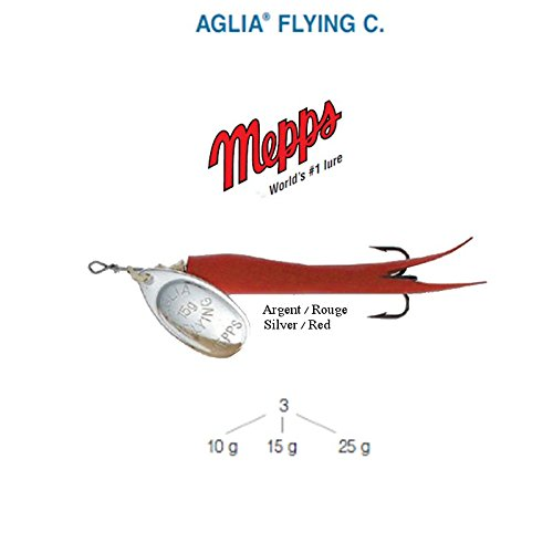 Mepps Aglia Flying C 10 g 15 g 25 g, 5 Farben, Forelle Lachs Hecht Bar (rouge-argent, 10 g)