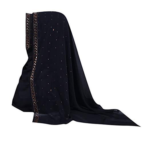 Lazzboy Shimmer Sparkle Gold Glitters Plain Chiffon Muslim Hijab Schal Halstuch Uslimische Kopftuch Turban-hüte Perlen Indien Hut Muslimischen Rüschen Krebs Chemo Beanie Turban Wrap Cap(H)