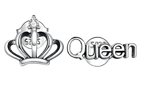 Joielavie - Orecchini in argento 925 Queen corona Royal Zircone anti-allergico, orecchini da donna e ragazza
