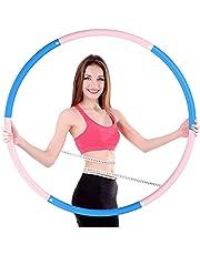 OUZIGRT Fitness Hoelahoep 1 kg, Hula Hoop voor Volwassenen, 6 Segments Afneembare Hoelahoep voor Gewichtsverlies, Massage, Aerobic Oefening