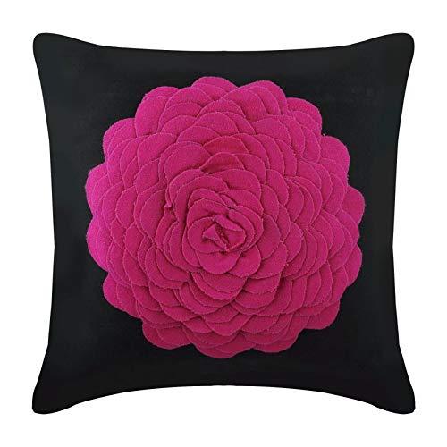 Rosado Cojines Para Cubrir El Sofá, 3D De Fieltro Fucsia Origami Flor Apliques cojín cubre 50x50 cm, Moderno Fundas De Cojines, Gamuza Sintética Funda De Almohada - Hot Pink Rose