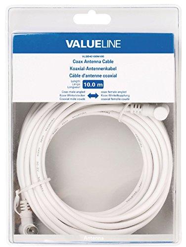 Valueline VLSB40100W100 Cavo Antenna Coassiale Angolato Maschio - Femmina, 10 m, Bianco