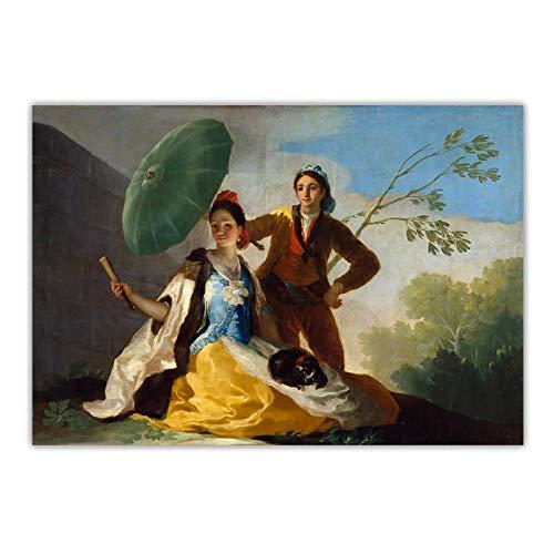 UpperPin Francisco Goya 《Der Sonnenschirm, 1777》 Leinwand Ölgemälde Berühmte Kunstwerk Poster Bild Wand Hintergrund Dekor Wohnkultur -60x90cmx1pcs- Kein Rahmen