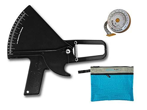 Plicometro Slim Guide Kit AnthroFlex con Cinta Métrica IMC AnthroFlex, Bolsa de Transporte, y Manual Medir Grasa Corporal - Calibre de Alta Precision Para Estudiantes y Profesionales (Negro)