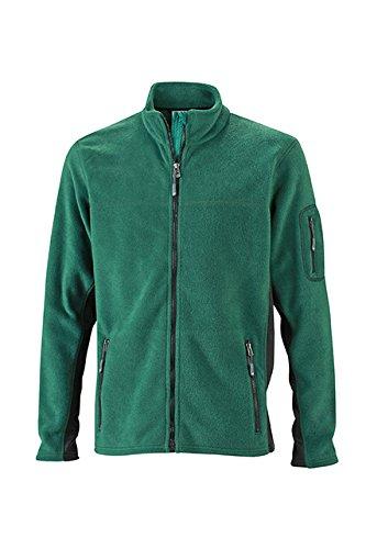James & Nicholson Herren Workwear Fleece Jacket Jacke, Grün (Dark-Green/Black), Large