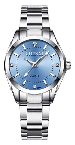 Women's Classic Fashion Silver Stainless Steel Watches Waterproof Luminous Lady Dress Wrist Watch (021 Blue)