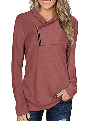 Womens Casual Long Sleeve Cowl Neck Shirt Zipper Solid Sporty Sweatshirts Red Small