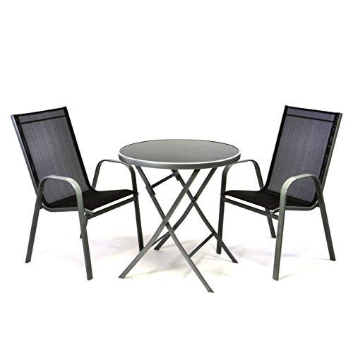 Nexos Bistroset Balkonset – Gartengarnitur Sitzgarnitur aus Glastisch & Stapelstuhl – Stahlgestell Kunststoff Glasplatte – robust stapelbar – schwarz grau