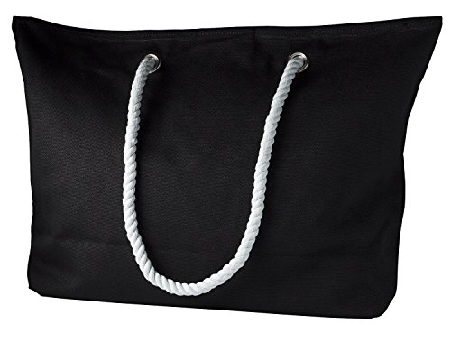 cecilia&bens Canvas Strandtasche XXL für die ganze Familie   geeignet für Stranddecke, großes Strandtuch   ideales Urlaub-Zubehör, Farbe:schwarz