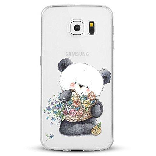 Custodia per Samsung Galaxy S7 Edge Cover Ultra Slim TPU Design di Cactus Clear Morbido Copertura Case Cover Anti-Scratch Antigraffio Silicone Protettivo Cases per Samsung Galaxy S7 Edge (panda)