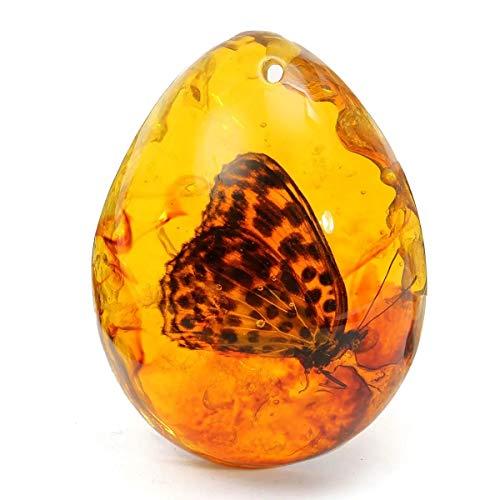 N\A Collar con colgante de mariposa con piedra de insecto, decoración de regalo, mariposa, resina ámbar, decoración estética