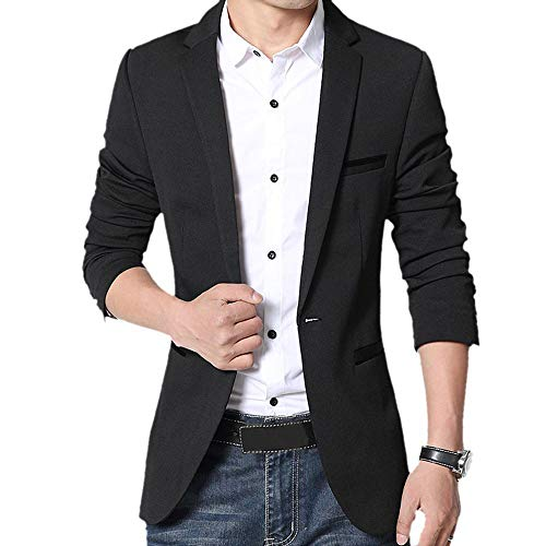 Gopune Men's Slim Fit Casual One Button Suits Coat Solid Blazer Business Jacket(Black,XS)