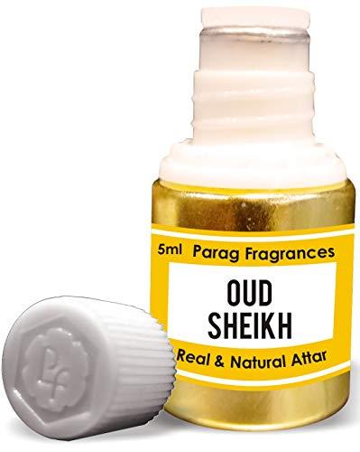 Parag Fragrances Oud Sheikh Attar 5 ml (attar sans alcool longue durée pour homme ou utilisation religieuse) Bhapka traditionnelle, fabriqué en Inde.