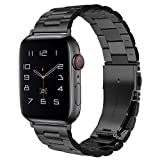 Dsytom Compatible Apple Watch Band 42mm 44mm 38mm 40mm, XL Large Metal Replacement Strap Compatible Apple Watch Series 6/5/4/3/2/1 Smartwatch,apple watch SE(Black)