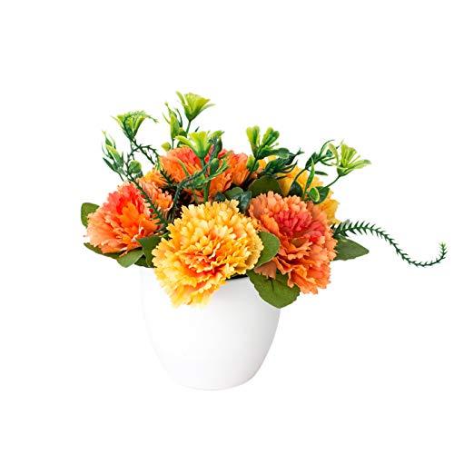 YUANMAO Plantas Artificiales En Macetas De Color Lila Creativas Maceta Mate De Origami, Adornos En Macetas De Flores Falsas, Para La Decoración De La Mesa De La Oficina De La Fiesta De La Boda naranja