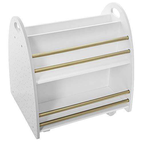 Atmosphera – Libreria bassa con 2 facce su rotelle per cameretta dei bimbi (Bianco/dorato)