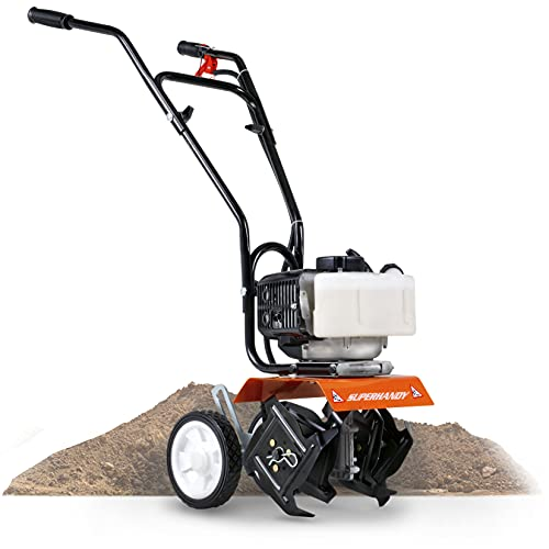 SuperHandy Mini Tiller Cultivator Super Duty 3HP 50cc 2 Stroke Gas Motor 4 Premium Steel Adjustable Forward Rotating Tines for Garden & Lawn, Digging, Weed Removal & Soil Cultivation EPA CARB