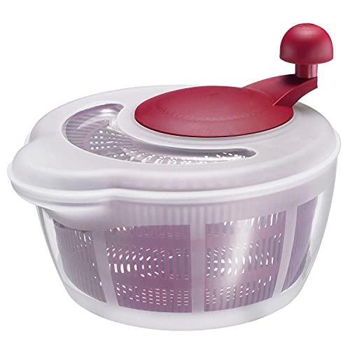 Westmark Ensaladera, Capacidad: 5 litros, ø 26 cm, Plástico, Sin BPA, Fortuna, Color: Transparente/Rojo, 2432224R, Talla única