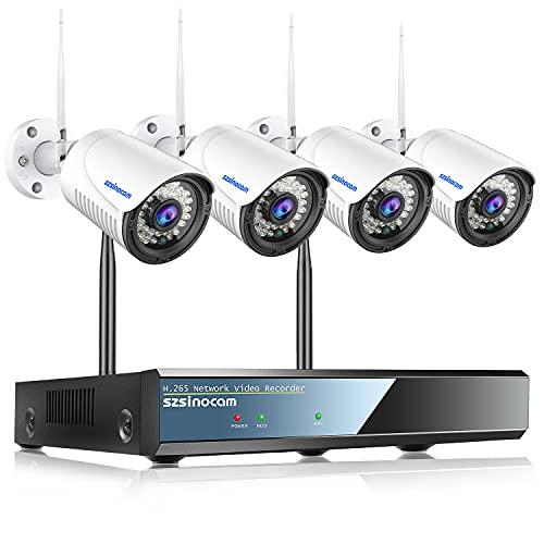 SZSINOCAM 1296P Full HD Kit telecamera videosorveglianza WiFi da Esterno,8CH Wireless Sistema di Telecamera Sorveglianza,Con Visione notturna,Rilevamento del movimento,Notifica di allarme,plug & play