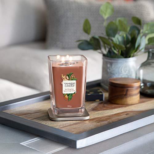 Collezione Yankee Candle Elevation con Coperchio della Piattaforma Grande Candela Quadrata a 2 Stoppini, Sweet Orange Spice