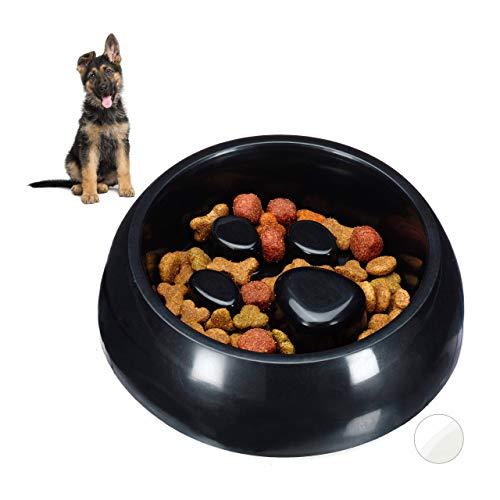 Relaxdays Anti Schling Napf, Futternapf für Hund & Katze, Langsames Fressen, 300ml Fressnapf, spülmaschinenfest, schwarz