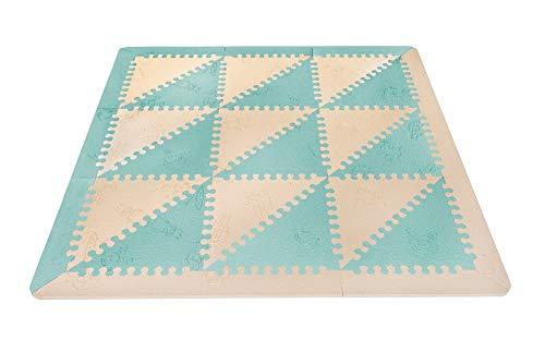 LuBabymats - Alfombra puzzle infantil para bebés de Foam (EVA), suelo extra acolchado para niños, color Mint y Beige