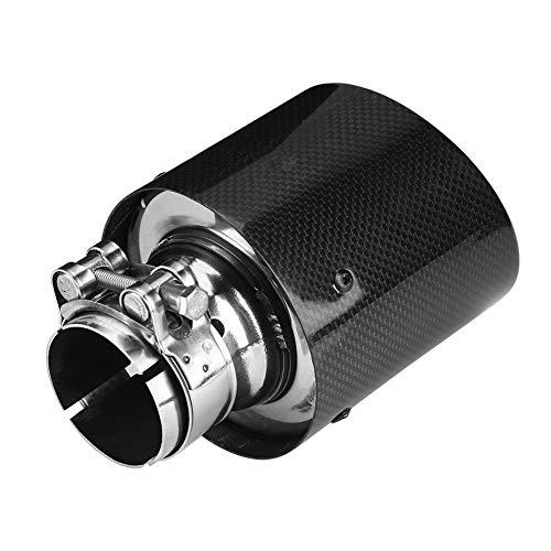Duokon 54-101mm Tuyau d'Échappement à Sortie Simple de Voiture Universel Tuyau Arrière de Silencieux en Style Fibre de Carbone Noir Brillant