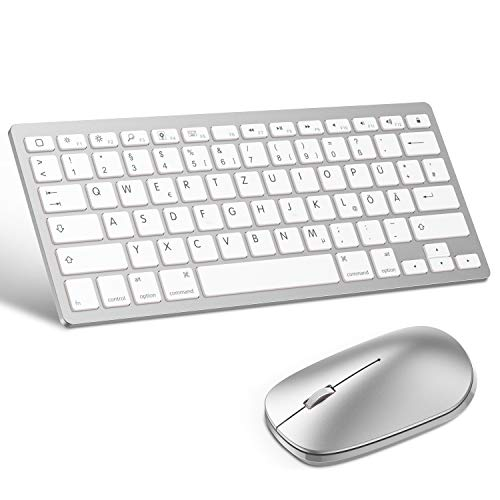 OMOTON deutsche Bluetooth Tastatur Maus Set für iPad 10.2,iPad 2018/2017,iPad 8/7/6/5/4,iPad Air 4/3/2,iPad Pro 10.5,iPad Mini 5/4, iPad Pro 12.9 und iPhone,QWERTZ Layout,Silber