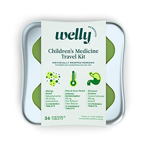 Welly Remedies - Children's Medicine Travel Kit, Individually Wrapped: Allergy Relief, Pain & Fever Relief, and Stomach Smoother - 36 Count