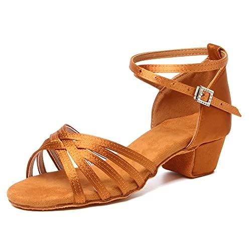 SWDZM Niñas Estándar de Zapatos de baile latino Satén Ballroom modelo-ES-202 Marrón 37.5 EU