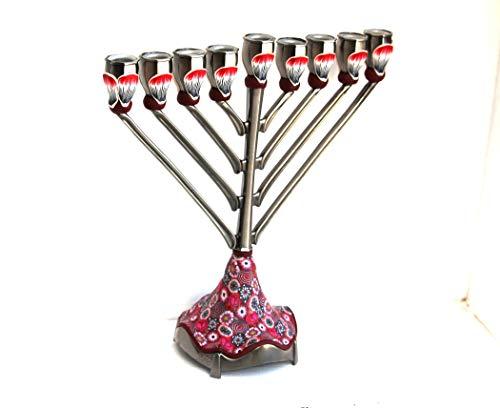 Handmade Hanukkah Lamp Traditional Hanukkiah Made In Israel, Menorah Jewish Candle Holders for Hanukkah Holiday, Judaica Candelabra Gift