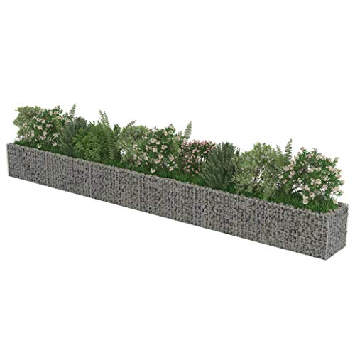 Gabione Pflanzenkorb Stahl | eckige Gabionenkörbe | befüllbare Steinkörbe | Steinkörbe Blumenkasten | Gabionen Hochbeet Pflanzkübel | Gabionen pflanzgefäß | Verzinkter Stahl Mehrere Größen