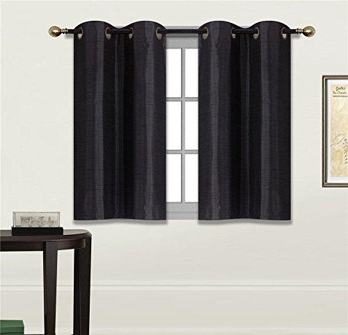 Elegant Home 2 Panels Tiers Grommets Small Window Treatment Curtain Faux Silk Semi Sheer Drape Short Panel 28' W X 36' L Each for Kitchen Bathroom or Any Small Window # N25 (N25 Black)