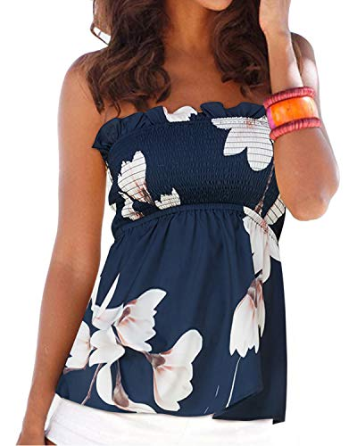 YOINS Sexy Oberteil Damen Bandeau top schulterfrei Oberteil Off Shoulder Sommer Blumen Sexy Top für Damen Gefaltete Tank Tops Schlauchshirt Blau XL