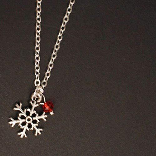 NC110 Collar con Colgante de Cristal Rojo Nieve, Collares de Cadena de clavícula Simple para Mujer, joyería para el Cuello YUAHJIGE