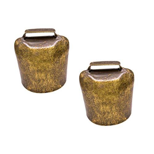HEALLILY 2 Stücke Kuhglocke Ziegenglocke Hängende Glocke kleine Antike Eisen Glocke in antikgold Klangvolle Kuhglocke Glockenschelle Größe L
