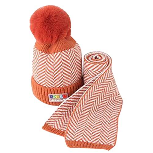 iSunday (2 sombreros de bebé para invierno, gorro de punto, para niños, otoño e invierno, lana cálida, gorro de lana para bebé, gorro de punto para niños (naranja)