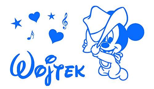 Autocollant de mur autocollant personnalisé de Mickey Mouse. Nom de l'enfant autocollant mural personnalisé et Mickey Mouse. Sticker mural avec le nom d'un enfant et Mickey Mouse.