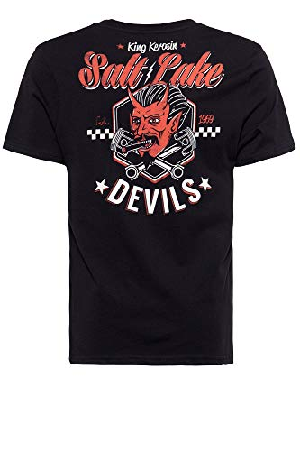 King Kerosin Herren T-Shirt | Herrenshirt | Rundhals | Backprint Salt Lake Devils