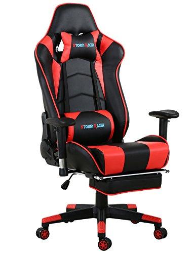 Gaming Stuhl Racing Sessel Bürostuhl Schreibtischstuhl mit Gepolsterte Fußstütze (Schwarz/Weiß)