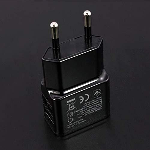 1A Adaptador de Corriente USB Dual portátil Cargador de teléfono móvil Enchufe eléctrico Adaptador de Cargador de Viaje Inteligente a Juego para teléfono Inteligente(de Color Negro)