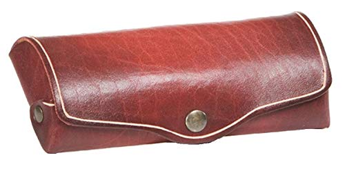 MIKA 28063104 Glasses Case Large Made of Real Leather/Saddle Leather, Case for Glasses and Eyewear Aids, Glasses Box for Men and Women, Glasses Storage in Red, Sunglasses Case Approx. 16 x 8 x 3 cm