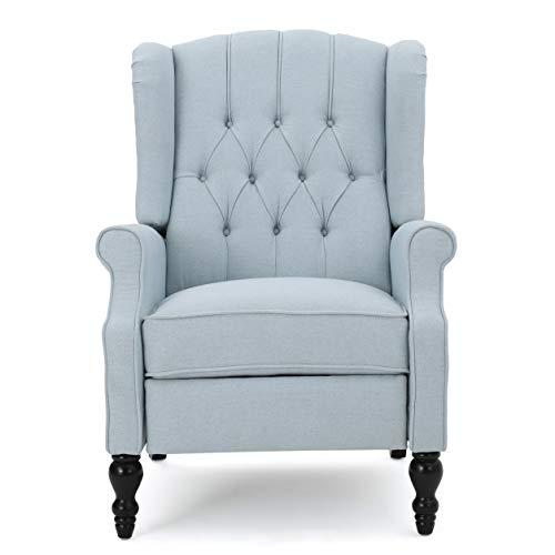 GDF Studio Elizabeth Tufted Fabric Recliner, Vintage Reclining Reading Armchair, Light Sky