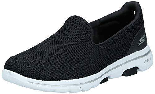 Skechers Damen Go Walk 5 Slip On Sneaker, Schwarz (Black Textile/White Trim Bkw), 42 EU (9 UK)