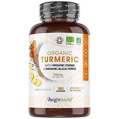 Organic Turmeric Curcumin with Black Pepper & Ginger - 1520mg - 180 High Strength Turmeric Capsules (3 Month Supply) - Vegan Friendly Turmeric Supplement, Soil Association Certified - Made in EU