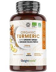 Bio Kurkuma capsules met zwarte peper en gember - 1140 mg - 180 vegan capsules voor 3 maanden - Biologisch vegan curcumine supplement