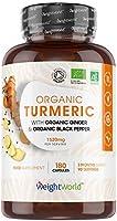 Cúrcuma Orgánica de 1520 mg con Jengibre y Pimienta Negra 180 Cápsulas Veganas - Cúrcuma en Cápsulas Natural Alta...